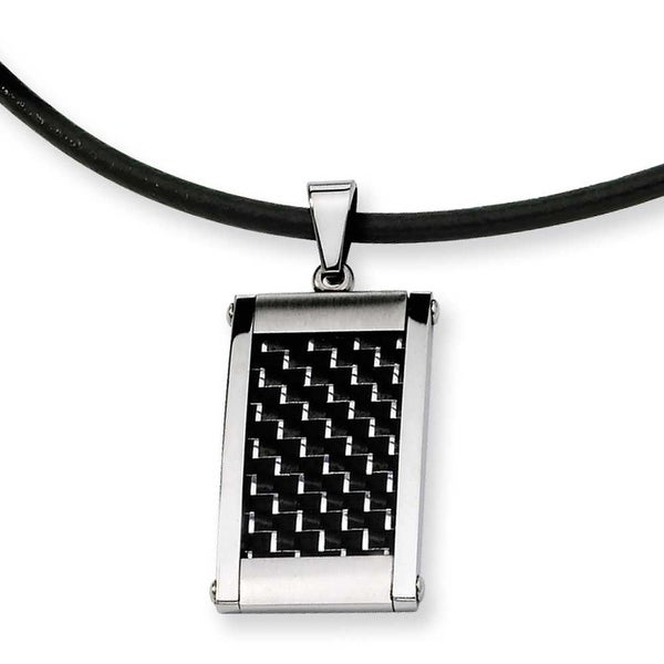 Chisel Stainless Steel Silver and Black Color Carbon Fiber Pendant (3 mm) - 18 in