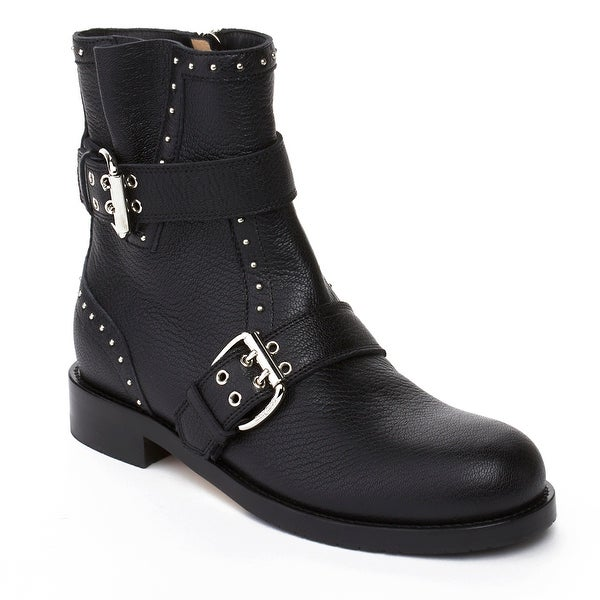 f44a6d0cabb9 Shop Jimmy Choo Women s  Bylss Flat  Leather Strapped Biker Boot ...