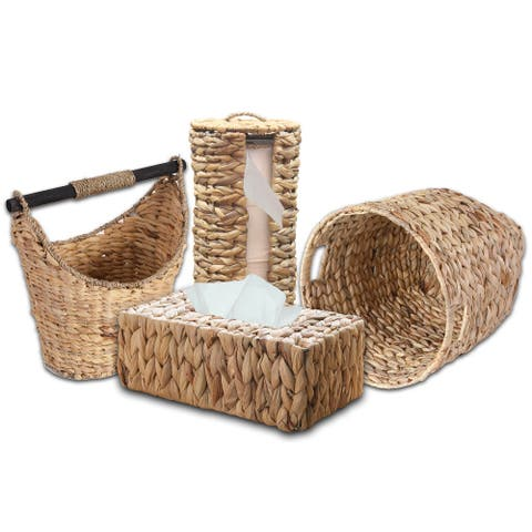 Rustic Water Hyacinth Vanity Bathroom Set, Set of 4 - Magazine Basket, Tissue Roll Holder, Tissue Box Cover, and Wastebasket
