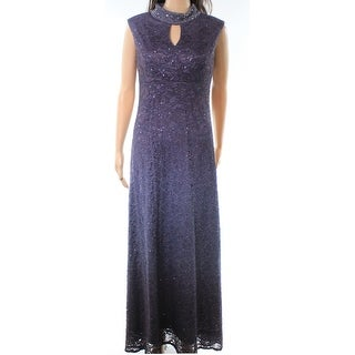Alex Evenings Blue Womens Size 6P Petite Shimmer Studded Gown Dress