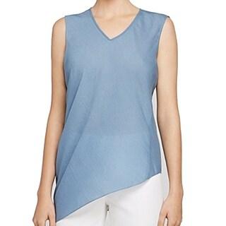 Elie Tahari NEW Blue Women's Size XL Asymmetrical V-Neck Blouse Silk