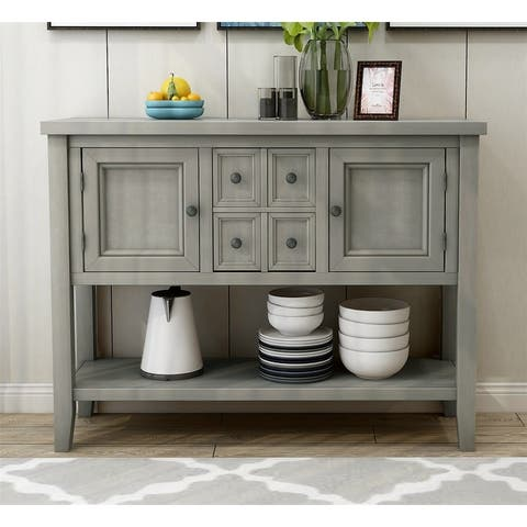 Merax Sideboard Console Table with Bottom Shelf and Drawers