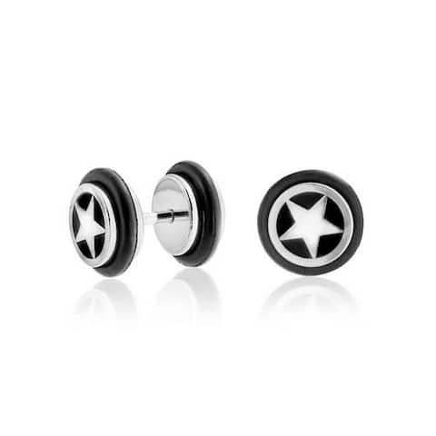 Black Star Illusion Faux Black Ear Plug Earring Surgical Steel 16G