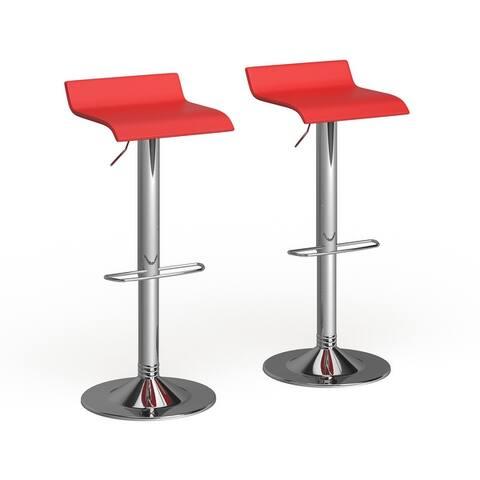 Porch & Den Blaine Chrome Air Lift Adjustable Swivel Stools (Set of 2)