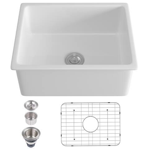 Pure White Ceramic Fireclay Single Bowl Drop-in Kitchen Sink - 23.62 in. Width
