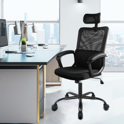 Home Office Chair, Ergonomic Desk Chair Mesh Computer Chair High-Back Executive Chair with Adjustable Headrest, Lumbar Support