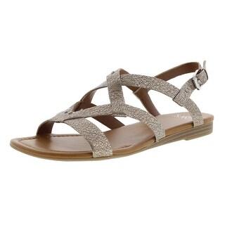 Franco Sarto Womens Gearing Leather Metallic Slingback Sandals - 8 medium (b,m)