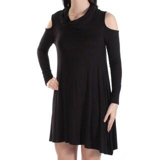 POOF $16 Womens New 1051 Black Cut Out Long Sleeve Shift Dress S Juniors B+B