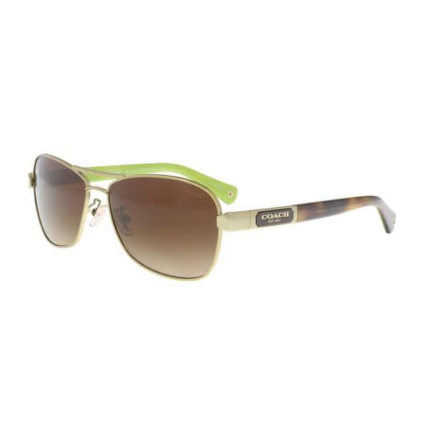 c64e79ea73c7 Shop Coach HC7012 910013 Gold / Tortoise Aviator Sunglasses - 56-14 ...