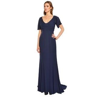 Escada Silk Georgette Ruched Flutter Sleeve Eve Gown Dress