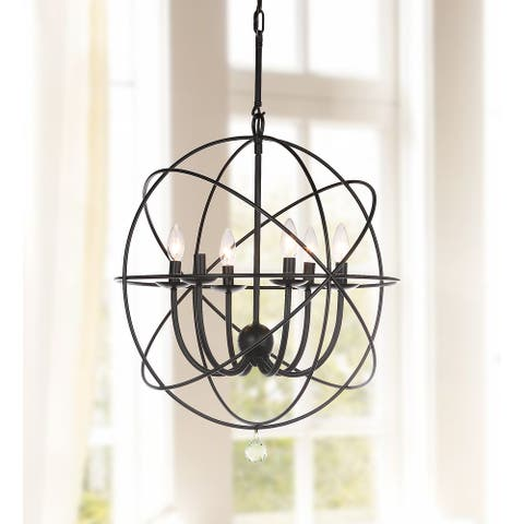 "Safavieh Lighting Evie 6-light Black/ Clear Adjustable Chandelier - 22""x22""x36.5-108.5"""