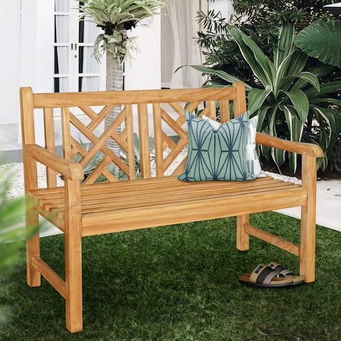 Seven Seas Teak Saint Thomas Outdoor Teak Wood Patio Bench, 4 Foot