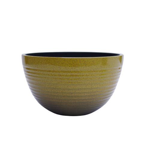 "The Your Choice Patio and Indoor Garden 11.6"" Ceramic Resin Planter Pot for growing plants. 11.6"" Planter Pot, Yellow"