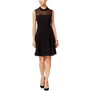 Anne Klein Womens Cocktail Dress Lace Inset Cowl Neck