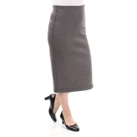 KIIND OF Womens Gray Zippered Tea Length Pencil Skirt Size: S
