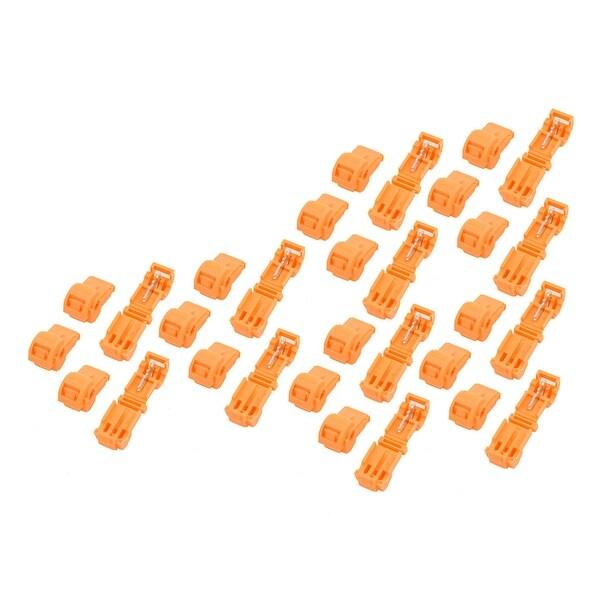 30Pcs Self-Stripping T-Tap Wire Spade Connectors Terminal Crimp Kit Orange
