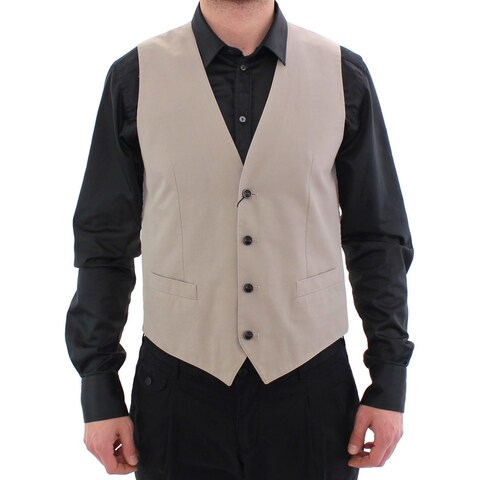 Dolce & Gabbana Dolce & Gabbana Beige Silk Blend Dress Formal Vest Gilet
