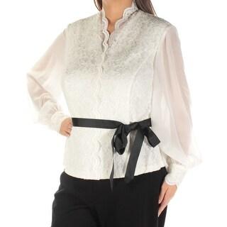 ALEX EVENINGS $129 Womens New 1392 White Tie Glitter Long Sleeve Top 1X Plus B+B