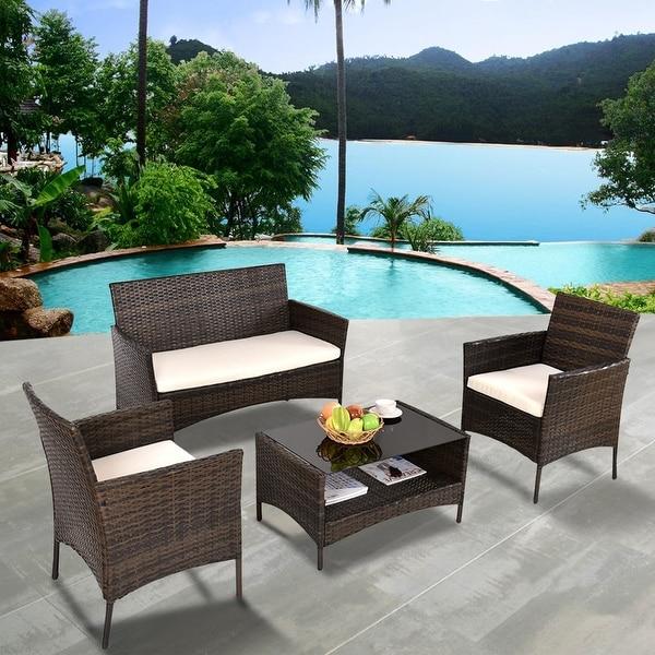 Costway 4 PCS Outdoor Patio Rattan Furniture Set Table Shelf Sofa W/ Beige Cushions - as pic