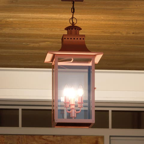"""Luxury Antique Outdoor Pendant Light, 26""""H x 12""""W, with French Country Style, Rustic Copper, UQL1414 by Urban Ambiance"""