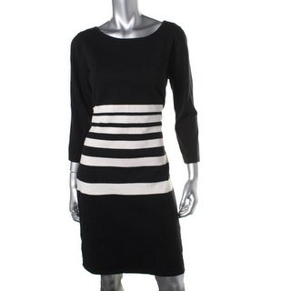 Lauren Ralph Lauren Womens Striped 3/4 Sleeves Sweaterdress