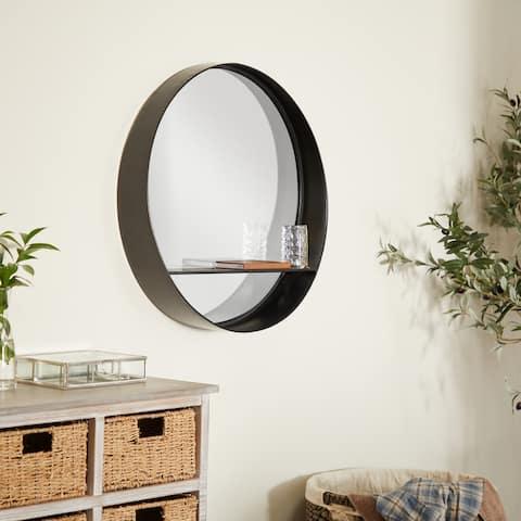 Black Iron Contemporary Wall Mirror - 24 x 5 x 24 Round