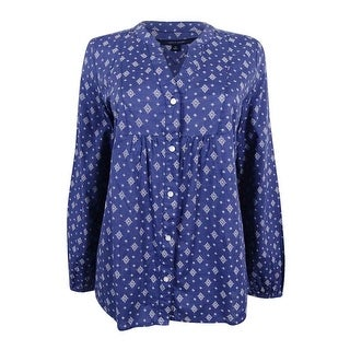 Tommy Hilfiger Women's Dotty Printed Split-Neck Shirt - blue indigo