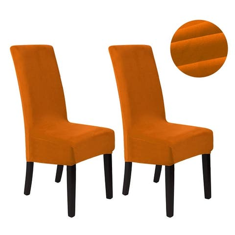 Velvet Spandex Stretch Dining Room Chair Seat Covers Slipcover