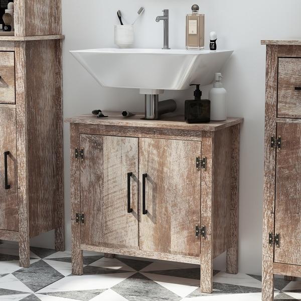 kleankin Wooden Under Sink Bathroom Floor Storage Cabinet with Double Door Space Saver Organizer, Barnwood. Opens flyout.