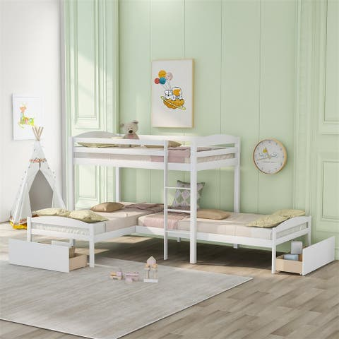 Merax Twin over Twin over Twin L-shaped Bunk Bed with Two Drawers