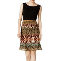 Connected Apparel Black Women's Size 8 Printed Chiffon Dress