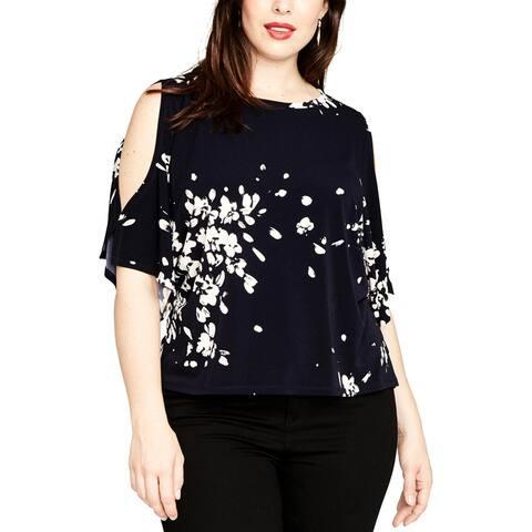 Rachel Roy Womens Plus Blouse Cold Shoulder Floral - 1X