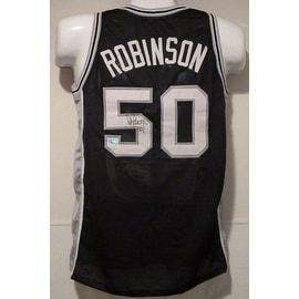 David Robinson Autographed San Antonion Spurs size Xl black jersey w/TRI STAR