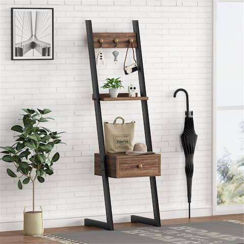 """58""""H Tall Nightstand with Drawer, 3-in-1 Hall Tree Entryway Table"""