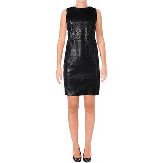 Aqua Womens Cocktail Dress Faux Leather Mixed Media