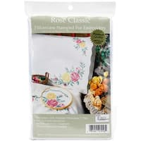 """Stamped Pillowcase Pair For Embroidery 20""""X30""""-Rose Classic"""