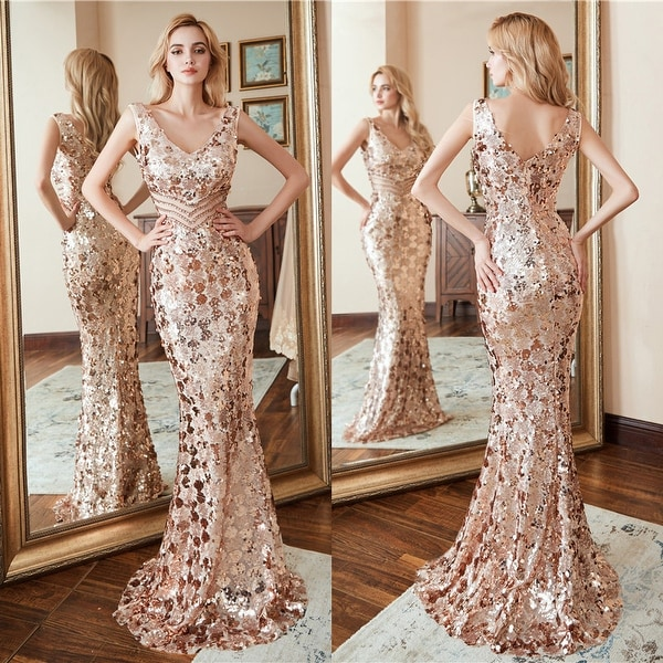 39a4f88bcf Shop Ever-Pretty Womens Sequin Gold Sexy Long Formal Evening Prom ...