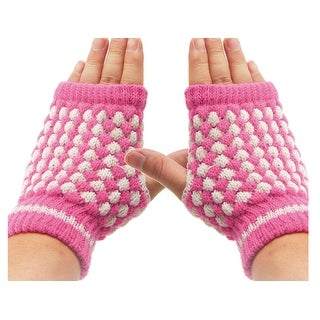 Unique Bargains Ladies Pair Fuchsia White Elastic Knitted Fingerless Mitten Gloves