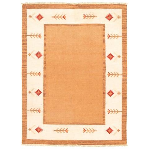 ECARPETGALLERY Flat-weave Ankara FW Brown Wool Kilim - 5'6 x 7'6