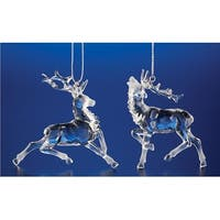 "Club Pack of 48 Icy Crystal Decorative Christmas Reindeer Ornaments 2.8"" - CLEAR"