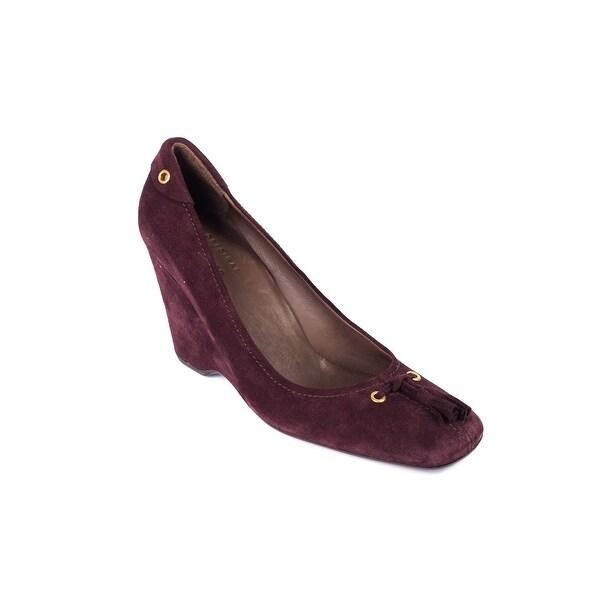 Shop Prada Car Shoe Womens Burgundy Fringe Tie Suede Wedge Heels ... e71b46e8a2
