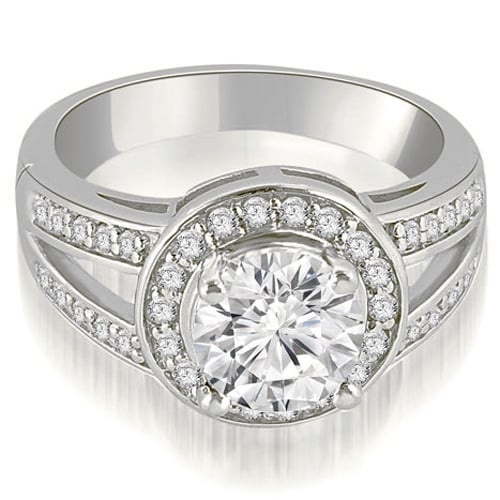 0.85 cttw. 14K White Gold Halo Round Cut Diamond Engagement Diamond Ring