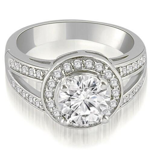 1.35 cttw. 14K White Gold Halo Round Cut Diamond Engagement Diamond Ring