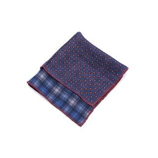 Brunello Cucinelli Red & Blue Plaid Silk Blend Pocket Square