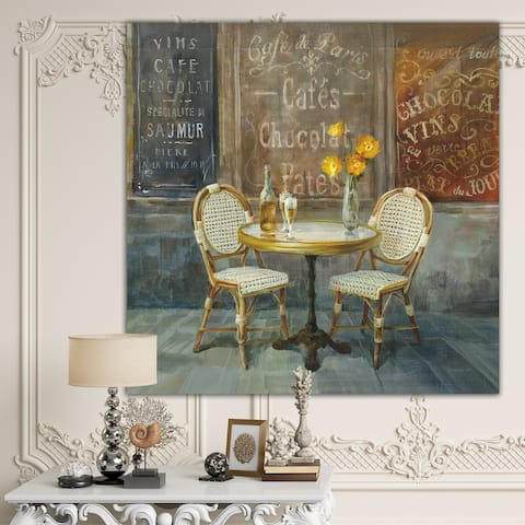 Designart 'French Cafe' Traditional Canvas Artwork Print