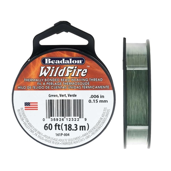 Wildfire Thermal Bonded Beading Thread, .006 Inch Thick, 20 Yard Spool, Green. Opens flyout.