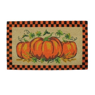 """Link to Orange and Black Checkered Fall Harvest Pumpkin Doormat 18"""" x 30"""" Similar Items in Decorative Accessories"""