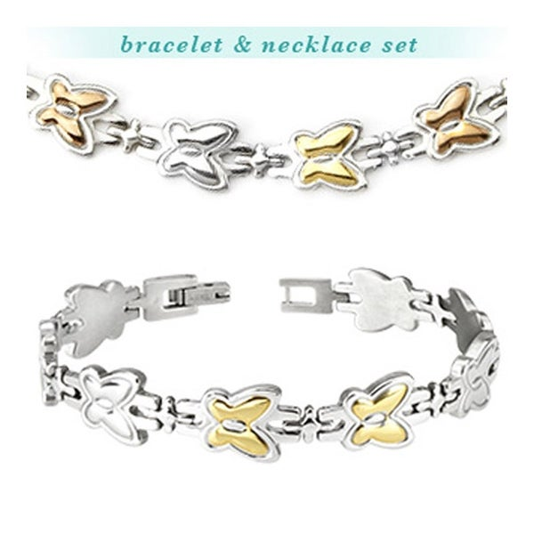 Stainless Steel Tri-Tone Butterfly Bracelet & Necklace Combo Set (Sold Ind.) (12 mm)
