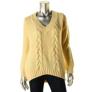 Zara Knit Womens Cable Knit V-Neck Pullover Sweater - M