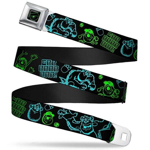 Monsters Eye Full Color Black Neon Green Sully & Mike Poses Grrrrr! Black Seatbelt Belt